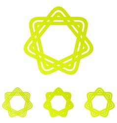 Yellow line star logo design set vector