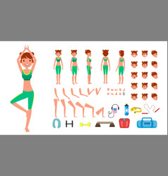 Yoga woman prenatal yoga animated vector