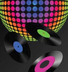 DJ records background vector image