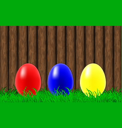easter eggs on a wooden wall background vector image vector image