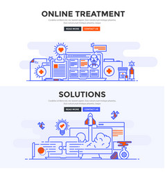 flat design concept banner -online treatment and vector image vector image