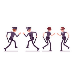 young police officers running vector image vector image