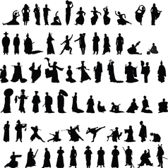 Asian silhouettes set vector