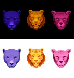 big cat set-tiger cheetah panther vector image