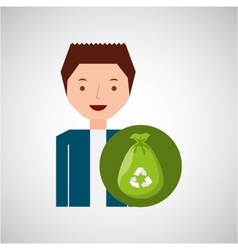 cute boy recycle ecology icon plastic bag trash vector image
