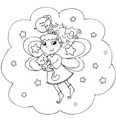 Fairy lady flying in a starry night vector