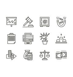Finance black line icons set vector image