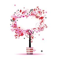 floral frame tree vector image