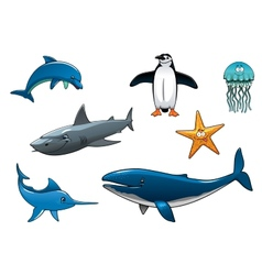 Marine wildlife colored animal characters vector image