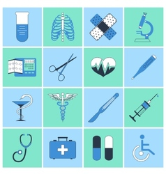 Medical icons flat line vector image vector image