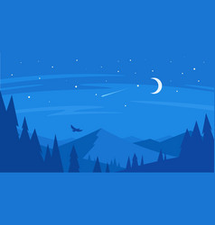 night forest and mountain vector image vector image