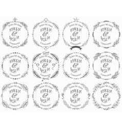Collection of floral handdrawn frames vector image