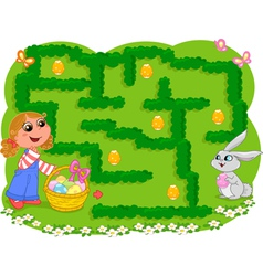 Kids game Easter maze vector image vector image