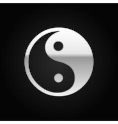Silver Yin Yang symbol icon on black background vector image