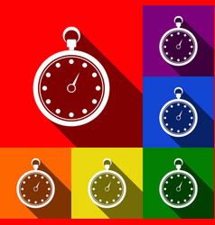 stopwatch sign set of icons vector image