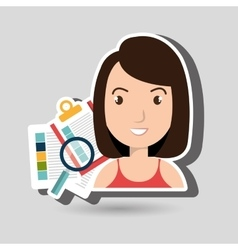 women with papers isolated icon design vector image