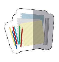 color pencils color notebook and rule icon vector image vector image
