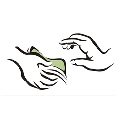giving a money symbol vector image