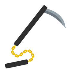 kusarigama japanese weapon icon isolated vector image vector image