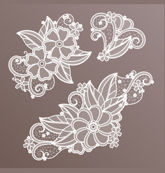 lace fashion handmade decoration with flowers vector image vector image