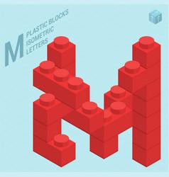 plastic blocs e letter m vector image vector image