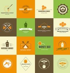 Set of honey labels vector image vector image