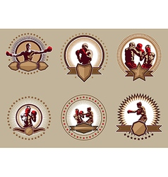 Set of six circular boxing icons or emblems vector image vector image