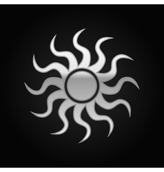 Silver Sun-sign icon on black background vector image