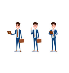 young businessman character design set vector image vector image