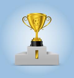 3d soccer golden trophy on podium vector image