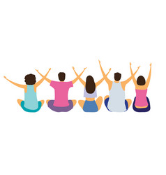 a group seated young people with their hands up vector image