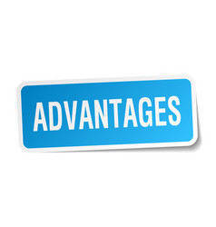 Advantages square sticker on white vector