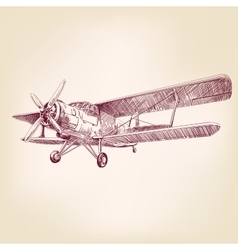 airplane vintage hand drawn illustration vector image