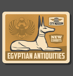 ancient egypt god anubis statue and scarab beetle vector image