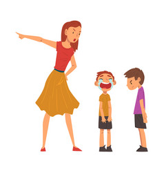angry mother scolding her naughty sons vector image