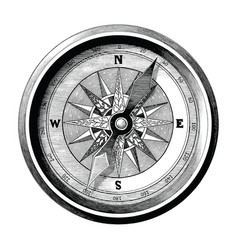 antique engraving vintage compass black and vector image