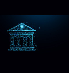 Bank building icon form lines and particle vector