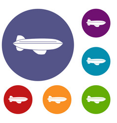 blimp aircraft flying icons set vector image
