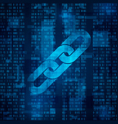 Blockchain hyperlink symbol on binary code vector