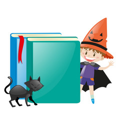 Boy in witch costume and two books vector