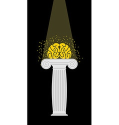 Brain on a pedestal Light falls on mind vector image