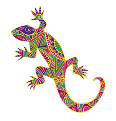 Bright colorful psychedelic lizard with many vector
