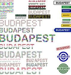 Budapest text design set vector