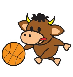Bull playing basketball vector