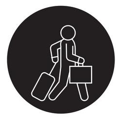 business traveler walks black concept icon vector image