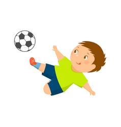 Cartoon soccer player kicks the ball vector
