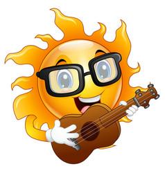 cartoon sun character playing a guitar vector image