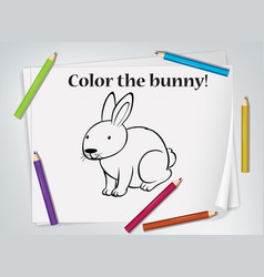 children bunny coloring worksheet vector image
