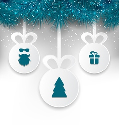 Christmas paper balls with decoration design vector