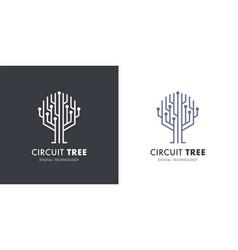 Circuit tree logo icon vector